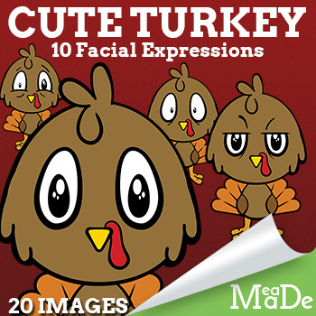 Cute Baby Turkey Clip Art - Facial Expressions - Thanksgiving Clip Art