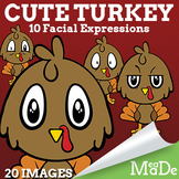 Cute Baby Turkey Clip Art - Facial Expressions - Thanksgiv
