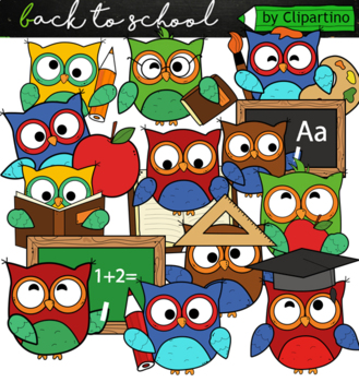 Cute Back to School Owls Clipart Clip Art