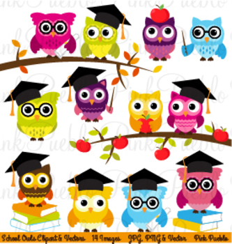 Cute Back to School Wise Owls Clipart Clip Art
