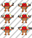 Cute Backpack Clipart (counting Number 0-100)