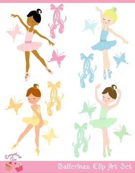 Cute Ballerinas Clipart Set
