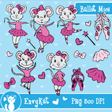 Cute Ballet Mice Digital Illustration Clipart