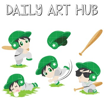 Cute Baseball Player Clip Art - Great for Art Class Projects!