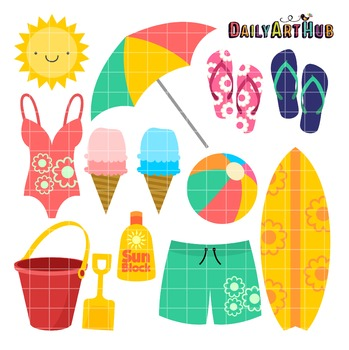 Cute Beach Clip Art - Great for Art Class Projects!