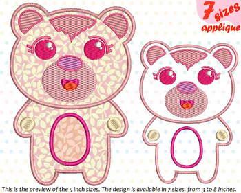 Cute Bear Applique Designs for Embroidery outline woodland animals kawaii 17a