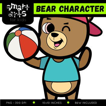 Cute Bear Digital Clip Art with Background