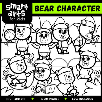 Cute Bear Clip Art with Background