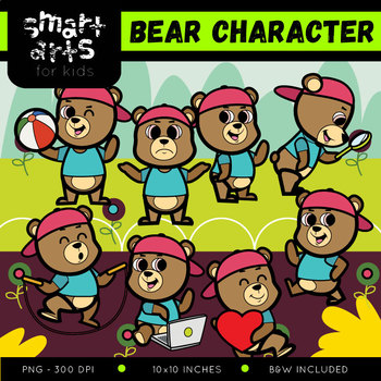 Cute Bear Digital Clipart - 8 Poses with background
