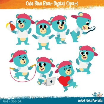 Cute Blue Bear Digital Clipart - 8 Poses with background