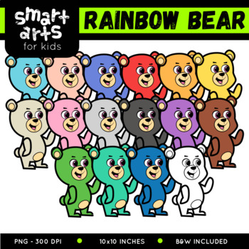 Cute Bear Digital Clipart - Multicolored