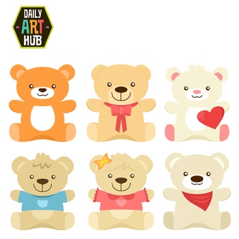Cute Bear Plushies Clip Art - Great for Art Class Projects!