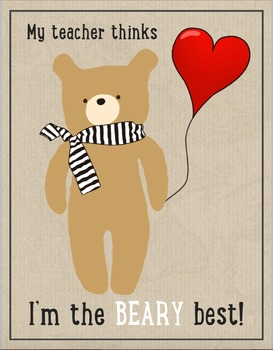 Cute Bear Valentine's Card From Teacher to Student - Freebie