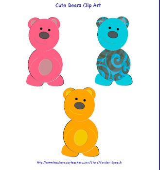 Cute Bears Clip Art Commercial Use OK