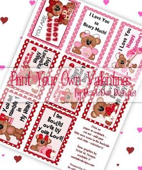 Cute Bears Printable Childrens Valentine Cards d1