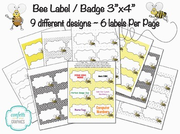 """Cute Bee Labels Badges Tags 3"""" x 4"""" 6 per page 9 designs Chevron Dots Avery 5384"""