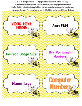 "Cute Bee Labels Badges Tags 3"" x 4"" 6 per page 9 designs Chevron Dots Avery 5384"