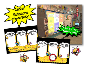 Cute Bee Themed Math Automated Rotation Powerpoint w/ 3 centers