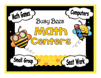 Busy Bees Themed Math Stations automated powerpoint for small group math