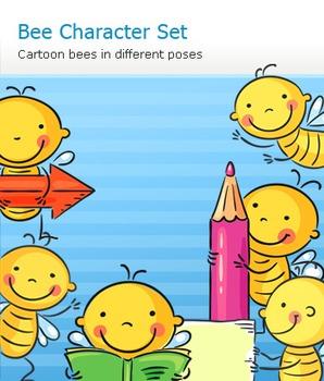 Cute Bee and Kid Cartoon Character Set