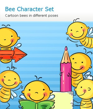 Cute Bee and Kid Cartoon Character Set