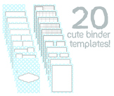 Cute Binder Template Pages - Blue Circle/Diamonds