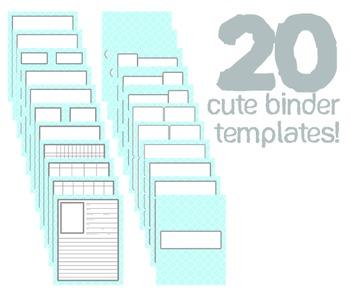 Cute Binder Template Pages - Blue Quatra