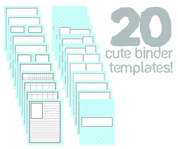 Cute Binder Template Pages - Blue Quatra