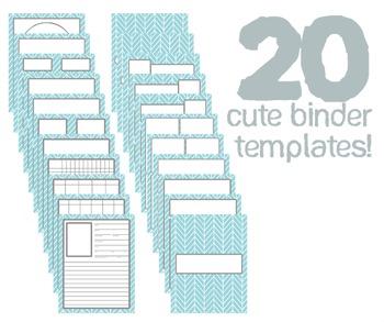 Cute Binder Template Pages - Blue Split Chevron
