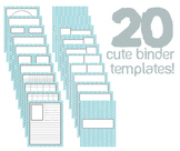 Cute Binder Template Pages - Blue Split Chevron