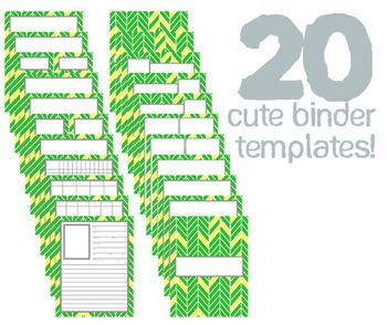 Cute Binder Template Pages - Green and Yellow Split Chevron