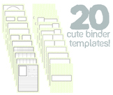 Cute Binder Template Pages - Lime Split Chevron