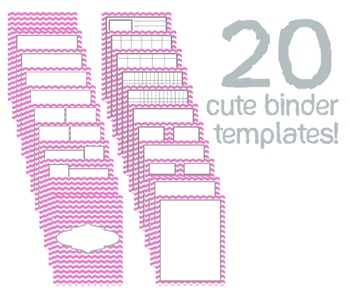 Cute Binder Template Pages - Pink Chevron