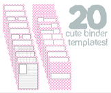 Cute Binder Template Pages - Pink Quatra