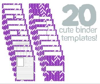 Cute Binder Template Pages - Purple/Violet Split Chevron
