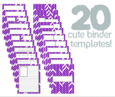 Cute Binder Template Pages - Purple/Violet Split Chevron