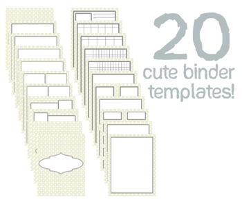 Cute Binder Template Pages - Yellow and Gray