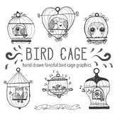Cute Bird Clip Art, Bird Cage Clip Art, Hand Drawn Bird Graphics