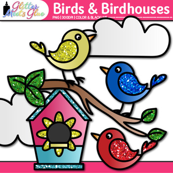 Cute Bird Clip Art {Rainbow Chicks and Glitter Birdhouses for Spring Activities}