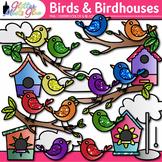 Cute Bird Clip Art {Rainbow Chicks and Glitter Birdhouses