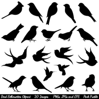 Cute Bird Silhouettes Clipart Clip Art - Commercial and Pe