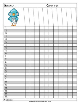 Cute Bird Themed Yearly Class Lists