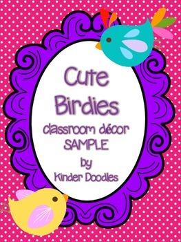Cute Birdies Classroom Decor Sample