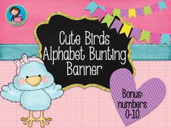 Cute Birds Alphabet Bunting Banner