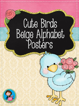 Cute Birds Beige Alphabet Posters