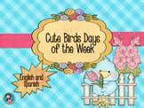 Cute Birds Calendar Days of the Week decor