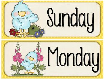 Cute Birds Calendar Days of the Week decor