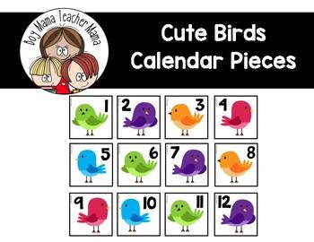 Cute Birds Calendar Pieces