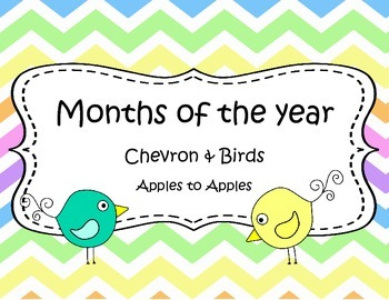 Chevron and Birds Months of the Year