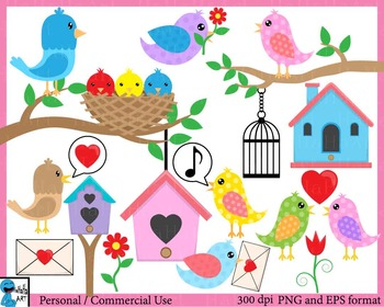 Cute Birds - Digital ClipArt Personal, Commercial Use - 64